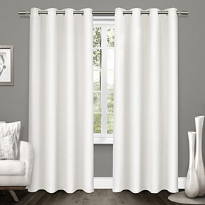Exclusive Home 2-pack Tweed Textured Linen Blackout Window Curtains