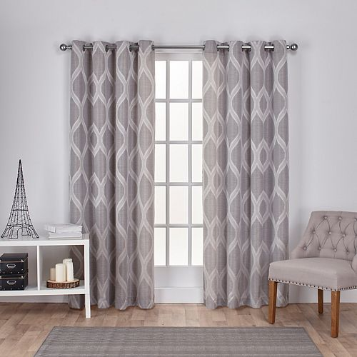 Exclusive Home 2-pack Montrose Ogee Geometric Textured Linen Window Curtains