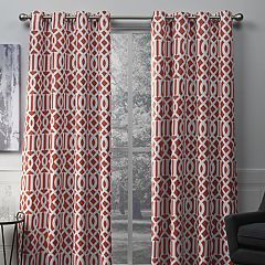 Exclusive Home 2-pack Scrollwork Gated Print Sateen Woven Blackout Window Curtains