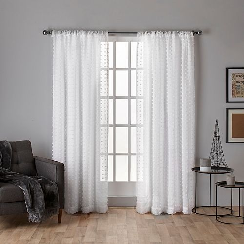 Exclusive Home 2-pack Spirit Woven Pouf Applique Sheer Window Curtains