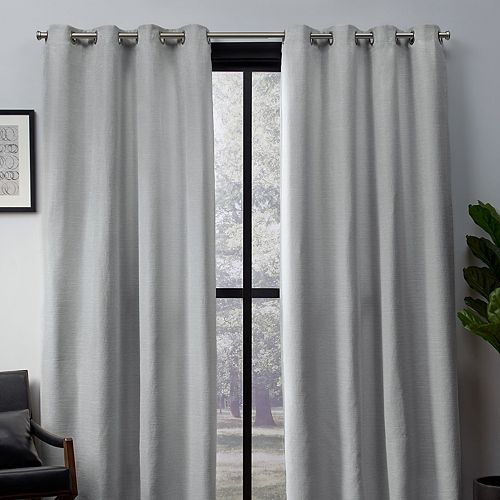 Exclusive Home 2-pack Leeds Textured Slub Woven Blackout Window Curtains