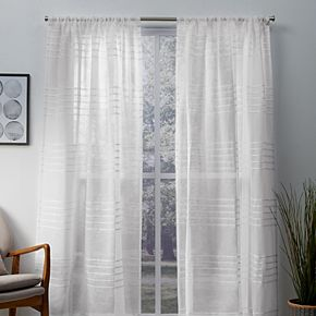 Exclusive Home 2-pack Monet Pleated Sheer Linen Cabana Stripe Window Curtains