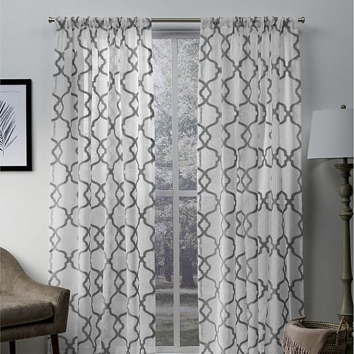 Exclusive Home 2-pack Muse Geometric Jacquard Linen Sheer Window Curtains