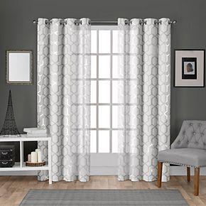 Exclusive Home 2-pack Panza Metallic Geometric Print Sheer Window Curtains