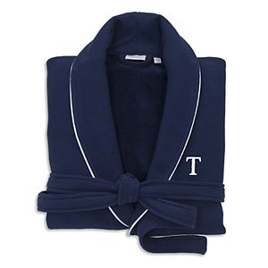Linum Home Textiles Turkish Cotton Personalized Waffle Terry Bathrobe & Satin Piped Trim