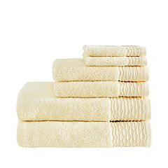 Madison Park 6-piece Aer Jacquard Wavy Border Zero Twist Cotton Bath Towel Set