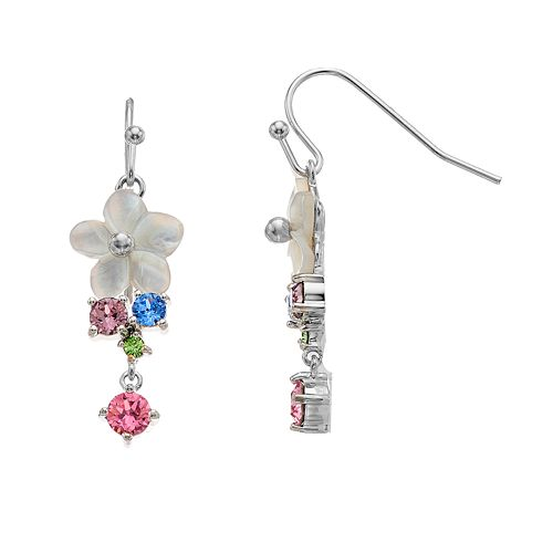 Brilliance Mother of Pearl Flower Dangle Earrings with Swarovski Crystals