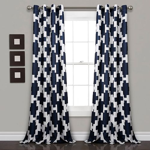 Lush Decor 2-pack Wellow Ikat Room Darkening Window Curtains