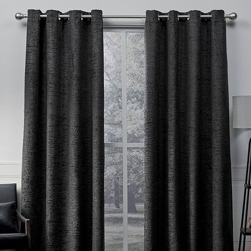 Exclusive Home 2-pack Crisscross Eyelash Chenille Window Curtains