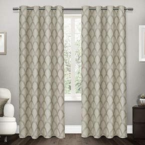 Exclusive Home 2-pack Electra Scalloped Heavyweight Jacquard Linen Window Curtains