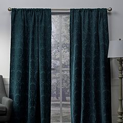 Exclusive Home 2-pack Damask Medallion Chenille Woven Blackout Window Curtains