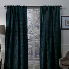 Exclusive Home 2-pack Elle Chenille Floral Scroll Woven Blackout Window Curtains