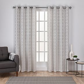 Exclusive Home 2-pack Cressy Geometric Textured Linen Jacquard Window Curtains