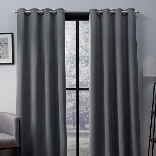 Exclusive Home 2-pack Heath Textured Woven Blackout Window Curtains
