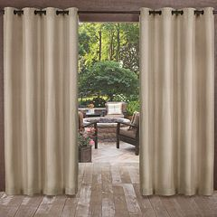 Exclusive Home 2-pack Biscayne Indoor/Outdoor Two Tone Textured Window Curtains