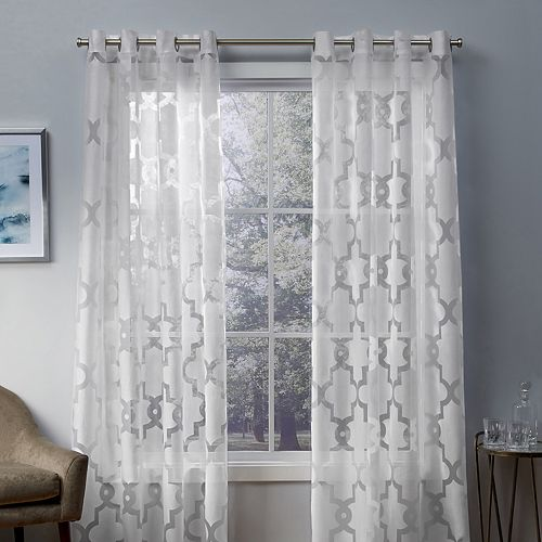 Exclusive Home 2-pack Essex Geometric Sheer Burnout Window Curtains