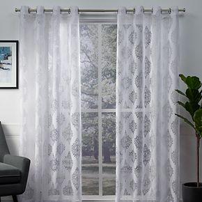 Exclusive Home 2-pack Birmingham Medallion Sheer Burnout Window Curtains