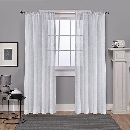 Exclusive Home 2-pack Foil Belgian Metallic Linen Sheer Window Curtains