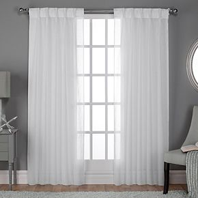 Exclusive Home 2-pack Belgian Textured Sheer Pinch Pleat Window Curtains