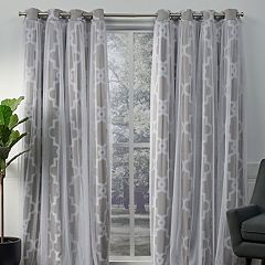 Exclusive Home 2-pack Alegra Layered Geometric Blackout and Sheer Window Curtains