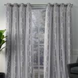Exclusive Home 2-pack Carmela Layered Geometric Blackout and Sheer Window Curtains