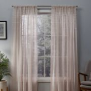 Exclusive Home 2-pack Davos Puff Embellished Belgian Linen Sheer Window Curtains