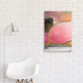 Artissimo Designs Pink Rounds Abstract Canvas Wall Art