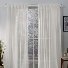 Exclusive Home 2-pack Belgian Sheer Hidden Tab Top Window Curtains
