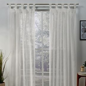 Exclusive Home 2-pack Belgian Sheer Braided Tab Top Window Curtains