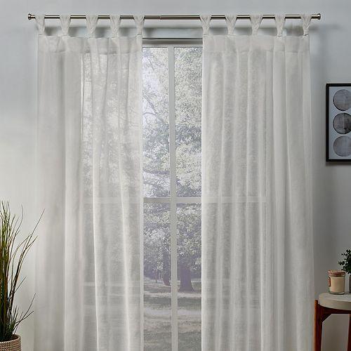 Exclusive Home 2-pack Belgian Sheer Braided Tab Top Window Curtains