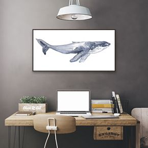 Artissimo Designs Humpback Whale Framed Canvas Wall Art