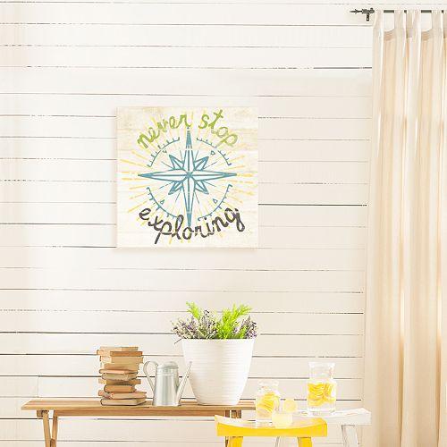 "Artissimo Designs ""Never Stop Exploring"" Canvas Wall Art"
