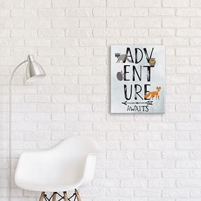 "Artissimo Designs ""Adventure Awaits"" Canvas Wall Art"