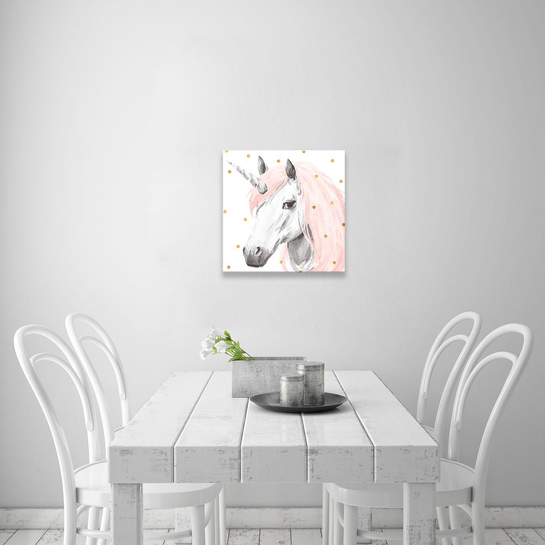 Artissimo Designs Pink Unicorn Canvas Wall Art