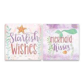 Artissimo Designs Starfish & Mermaid Canvas Wall Art 2-piece Set