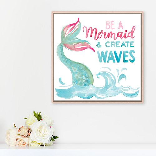 "Artissimo Designs ""Be A Mermaid"" Framed Canvas Wall Art"