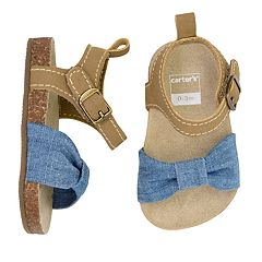 68d87103c39a8 Baby Girl Carter s Chambray Cork Sole Sandal Crib Shoes