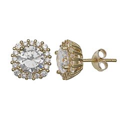PRIMROSE 18k Gold Over Silver Cubic Zirconia Square Halo Stud Earrings