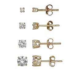 PRIMROSE 18k Gold Over Silver Cubic Zirconia Stud Earring Set