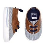 Baby Boy Carter's Striped Boat Shoe Crib Shoes