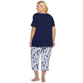 Plus Size Croft & Barrow® Smocked Sleep Tee & Pajama Capri Set