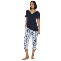 53355373b Women's Croft & Barrow® Smocked Sleep Tee & Pajama Capri Set