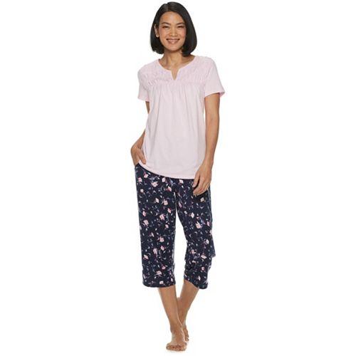 Women's Croft & Barrow® Smocked Sleep Tee & Pajama Capri Set