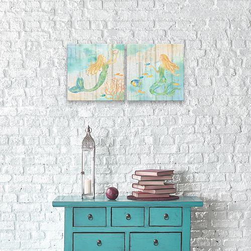 Artissimo Designs Sea Splash Mermaid I & II Canvas Wall Art 2-piece Set