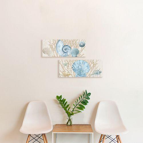 Artissimo Designs Rustic Shells Wood I & II Canvas Wall Art