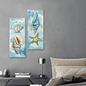 Artissimo Designs Watercolor Shells I & II Canvas Wall Art 2-piece Set