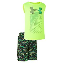 Toddler Boy Under Armour Rising Logo Muscle Tee & Abstract Shorts Set