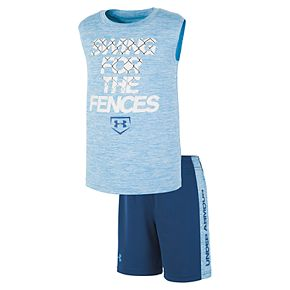 """Toddler Boy Under Armour """"Swing For The Fences Muscle Tee & Shorts Set"""