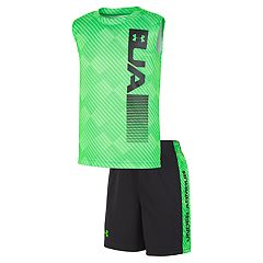 Toddler Boy Under Armour Vertical Wordmark Logo Muscle Tee & Shorts Set
