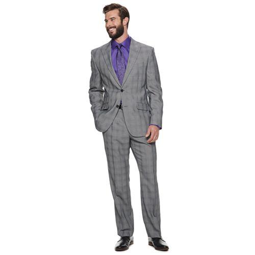 Men's Steve Harvey Fitted Textured Suit Jacket